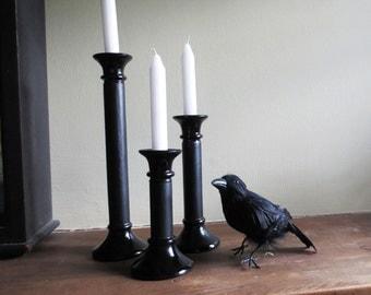 Black Candle Holders/Halloween Decor