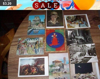 SALE 60% Off Vintage antique postcards lot of 10 mixed group Roma museum art libra Gallery canada