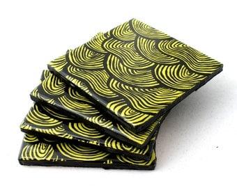 resin tile coasters- set of 4, handpainted coasters, resin coasters, tile coasters, green coasters, scallop design, coaster set, coasters
