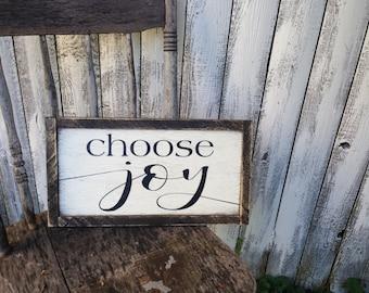 Choose Joy Rustic Distressed Framed Farmhouse Wood Sign 8x15 Custom Size Available