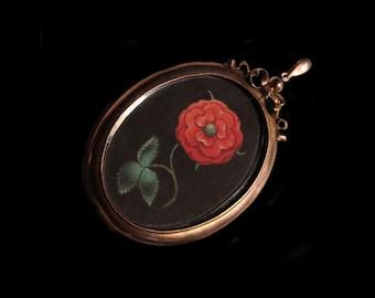Sandra Hendler Original Miniature Painting of A Red Tudor Rose In A Rose Gold Antique Locket w Beveled Glass