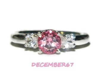 Three Stone Ring, Genuine Pink Topaz Ring, Anniversary Ring, Engagement Ring