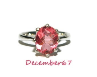 Ring With Pink Stone, Pink Quartz Ring, Sterling Silver Anniversary Ring