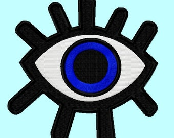 Shining Eye fill Embroidery Designs 4 sizes INSTANT DOWNLOAD