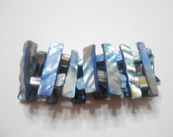 Blue Mother Of Pearl Stretch Bracelet (2178)