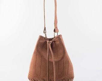 Bucket bag in Terracotta Crocodile effect Leather - Pouch - Shoulder Bag - Drawstring Pouch -Handmade Bucket Bag