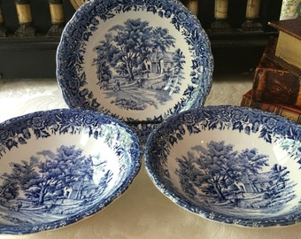 Set of 3 Blue English Transferware Bowls William Grindley Staffordshire England Country Style Blue
