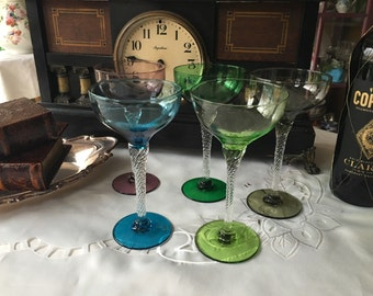 Set of 5 Multi Colored Coupe Champagne Glasses Twisted Stems