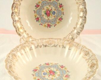 Vintage Wedding Soup Bowls American Limoges Lyric Pink Rose Floral Soup Shabby Cottage Chic Set of 2 Vintage Bridal Shower