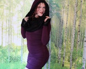 Long Sleeve Cowl Hoodie Dress in Amethyst Purple and Black Striped Lace Hood Liner, Festival Couture, Dark Goddess, Dance, Organic Fabric