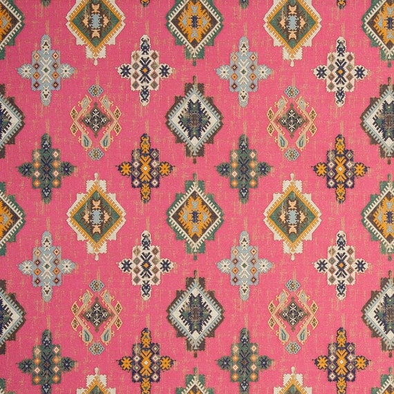 Pink blue woven ikat tapestry upholstery fabric heavyweight orange