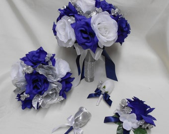 Wedding Silk Flower Bridal Bouquet Package Navy Blue White Silver Bride BridesmaidsToss Bouquets Boutonnieres Corsages FREE SHIPPING