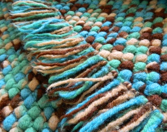 Vintage Crochet Blanket Colorful Afghan Blanket with Fringe Handmade