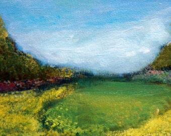 "Buttercup field original oil painting 5 x 7"" framed"