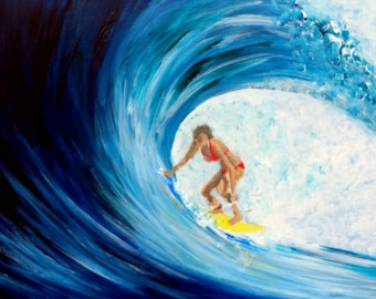 "Surfer Girl Original Acrylic Painting 8 x 10"" cradled panel"