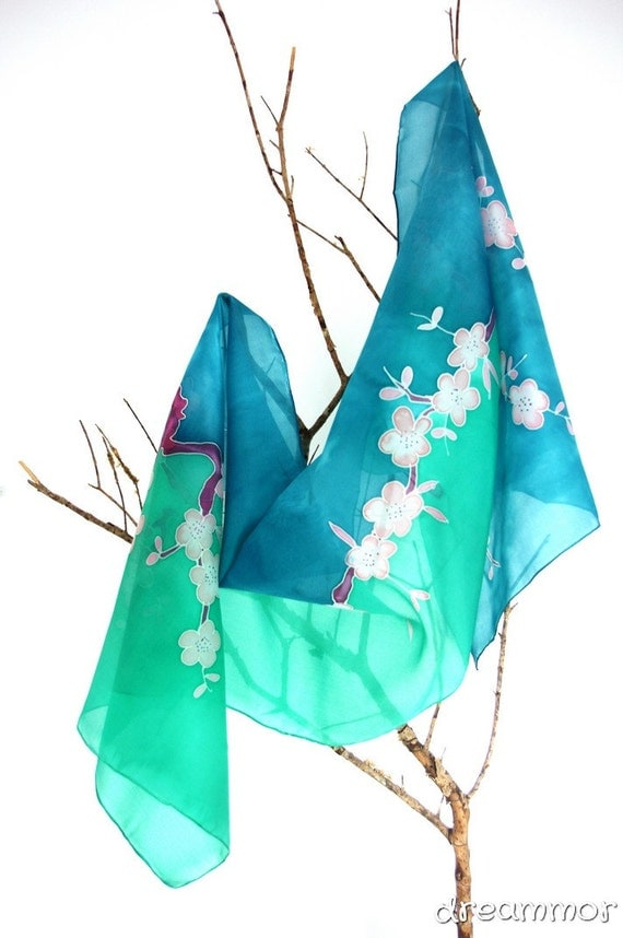 Silk scarf  hand-painted.Cherry Blossom. green. gift for her. 180x45cm. wedding shawl.