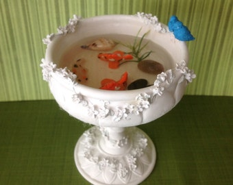 Polymer clay Handmade faux Koi pond, bird sitting in Koi fish bowl,handmade polymer clay Koi fish