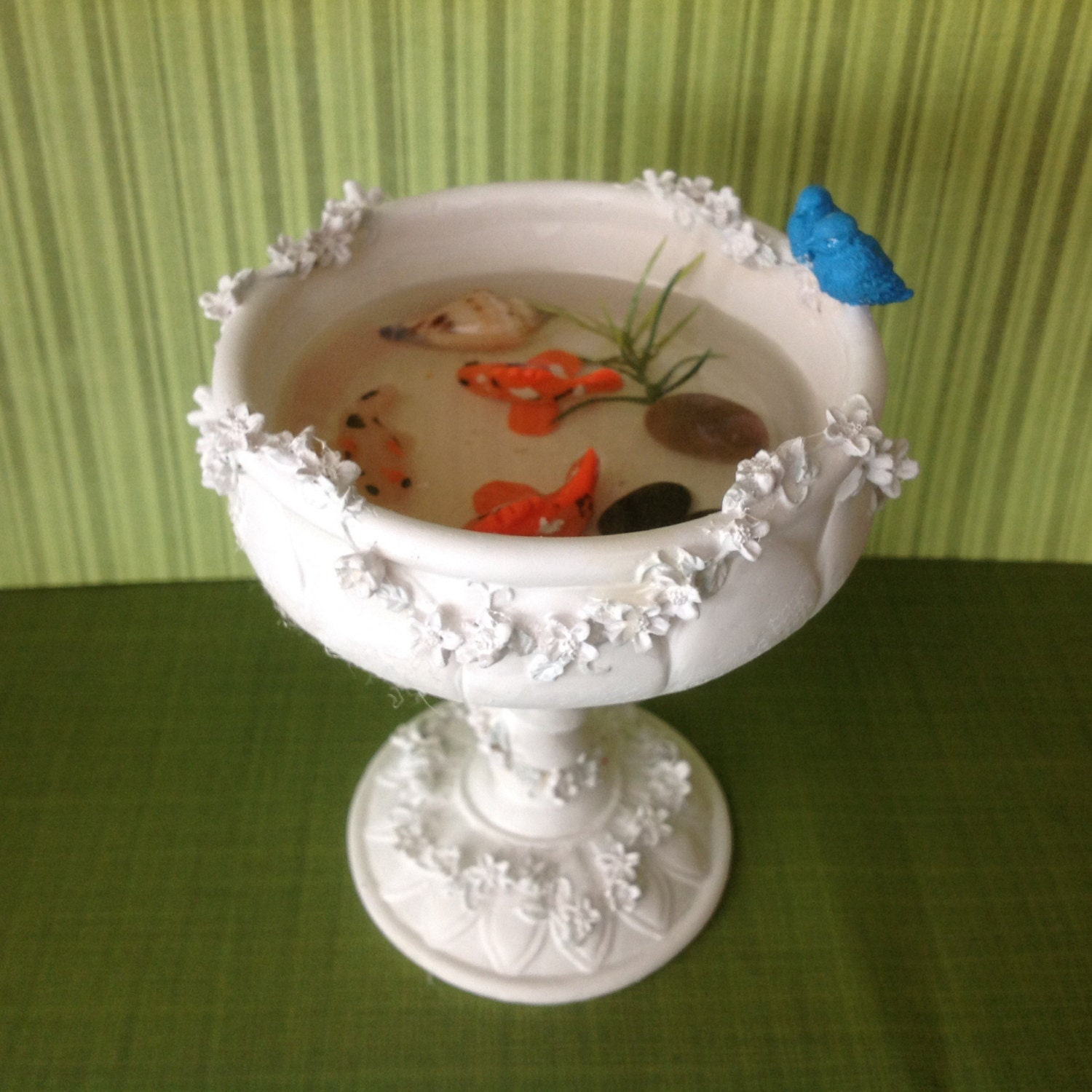 Polymer clay handmade faux koi pond bird sitting in koi fish for Clay fish pond