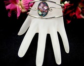 Vintage Cuff Bracelet Mother of Pearl On Mexican Alpaca Silver