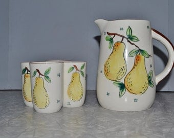 Japan Pear Juice Set ~ Pitcher & Glass Set ~ Breakfast Set ~ Milk Pitcher ~ Mid Century ~ Vintage Kitchen ~ Epsteam