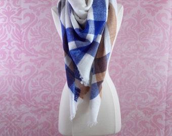 blue and white blanket scarf/plaid scarf/tartan scarf