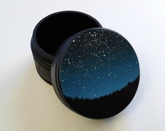 Starry Night | Original Acrylic Painting | Wooden Trinket Box | By Janelle Anakotta