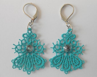 Small turquoise lace earrings and steel stainless