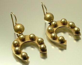 Antique/ estate Victorian 1800s, gilt metal / pinchbeck horseshoe lucky drop earrings - jewelry jewellery