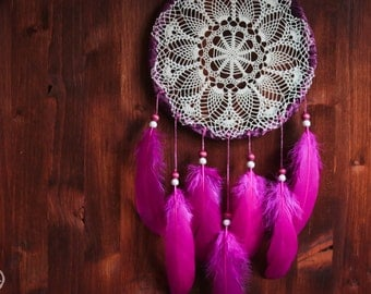 Dream Catcher - Inner Peace  - With Handmade Crochet Web and Stunning Pink Feathers - Boho Home Decor, Nursery Mobile