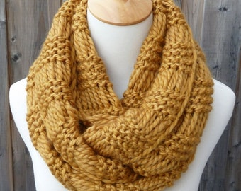 Mustard Yellow Infinity Scarf - Wool Infinity Scarf - Circle Scarf - Ready to Ship
