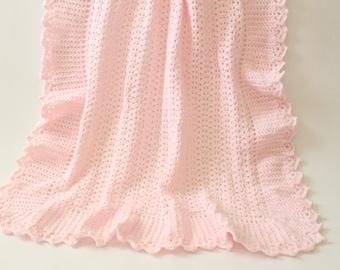Crochet Baby Blanket Pink Heirloom Afghan - Crib Bedding, Nursery Decor, Baby Shower Gift, Baby Girl, Newborn, Stroller Blanket, Lap Afghan