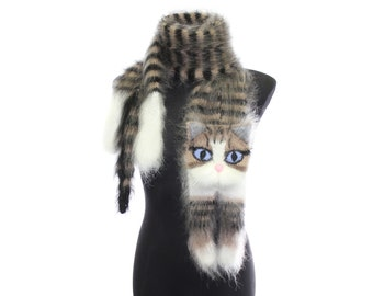 Knitted Scarf  / animal scarf /  tabby cat / Fuzzy  black beige white Soft Scarf / cat scarf / knit cat scarf / animal scarf