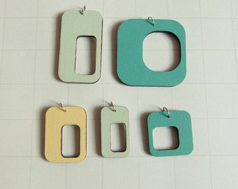 Hand painted Geometric  Wood Pendants, Do it Yourself  geometric necklace