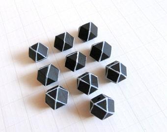 Geometric Black Wood Beads 20mm Big Hole, Geometric Jewelry