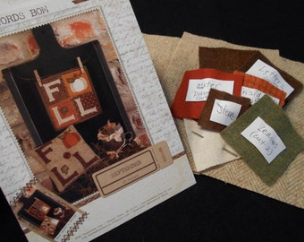 """Buttermilk Basin KIT - Simply Words Wool Applique Series - Sept. """"FALL"""""""