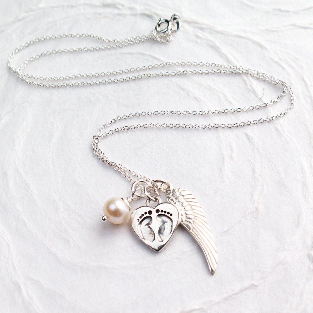 baby footprint necklace personalized with initial