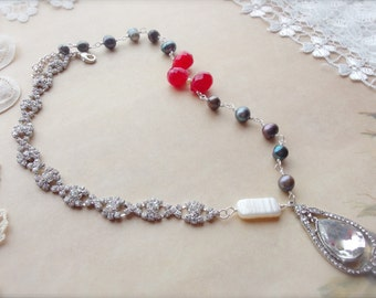 Romantic Jewelry, Crystal and Pearl Jewelry, Assemblage Jewelry, *KATHERINE*
