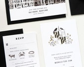 Industrial Black and White Wedding Stationery Save th Date, Invitation, Menu, RSVP, Thank You Card and Table Numbers