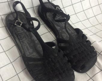 Black Velvet Strappy Jellies Sandals
