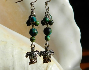 Honu ~ Green Sea Turtle Earrings, Teal, Blue and Green, Ocean, Earth, turquoise