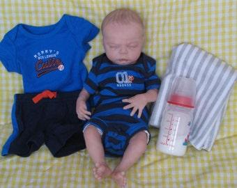 FULL BODY reborn preemie boy, OPEN mouth, ready to ship!