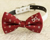 Red Dog Bow tie, Bow attached to dog collar, heart charm, Dog birthday gift, pet wedding accessory, Dog collar, Floral bow tie,Red wedding