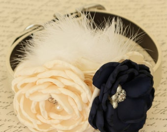 Navy Floral dog collar, Ivory and Navy Pet wedding, Dog birthday, Pearl