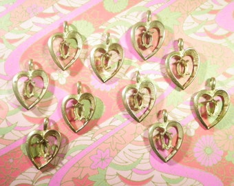 10 Polished Brass Heart Pendants with 6x4mm Setting