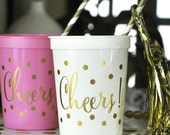 Bridal Shower Decor, Bridal Shower Cups, Pink and Gold Party, White and Gold Party- Set of 25