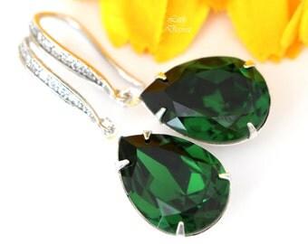 Dark Green Earrings Emerald Earrings Bridal Earrings Deep Green Earrings Dangle Earrings Swarovski Crystal Jewelry Bridesmaid Earrings DM31H