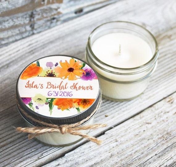 12 - 4 oz Soy Candle Bridal Shower Favors - Floral Wreath Label - Floral Bridal Shower Favors - Rustic Bridal Shower Favor - Mason Jar Favor