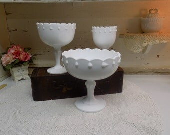 3 Vintage White or Milk Glass Teardrop Pattern Compotes 3 Different Sizes B1221