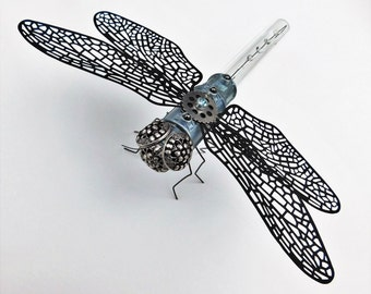 Steampunk Dragonfly Sculpture - Steampunk Sculpture - Steampunk Figurine - Steampunk Insect - Steampunk Home Decor