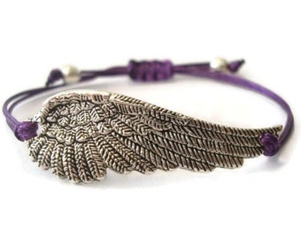 Purple Angel Wing Bracelet, Wing Bracelet, Angel Wing Charm Bracelet